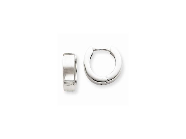 14K White Gold Hinged 0.4IN Hoop Huggie Style Earrings (0.5IN x 0.5IN)