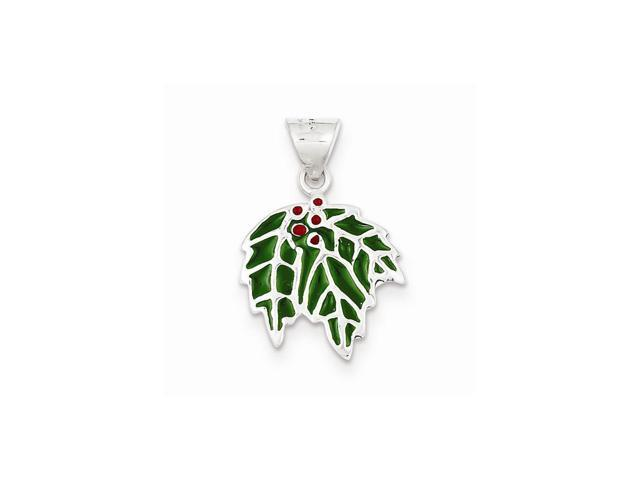 Sterling Silver Enameled Holly Charm (0.9IN long x 0.5IN wide)