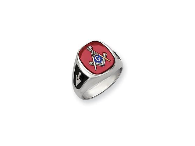 14k White Gold Men's Created Ruby Masonic Ring