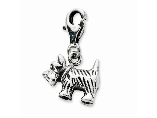 Sterling Silver 3-D Antiqued Scottie Dog with Lobster Clasp Charm (0.4IN long x 0.5IN wide)