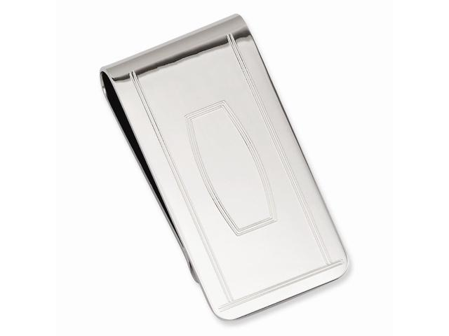 Mens Rhodium Plated Stainless Steel with Engraveable Area Money Clip