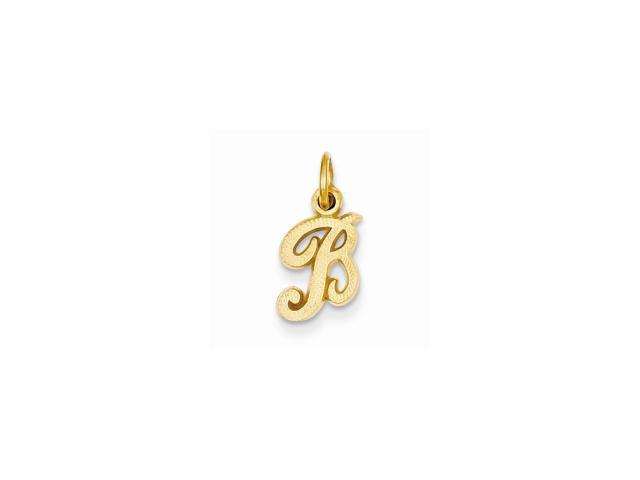 14k Yellow Gold Casted Initial B Charm Pendant