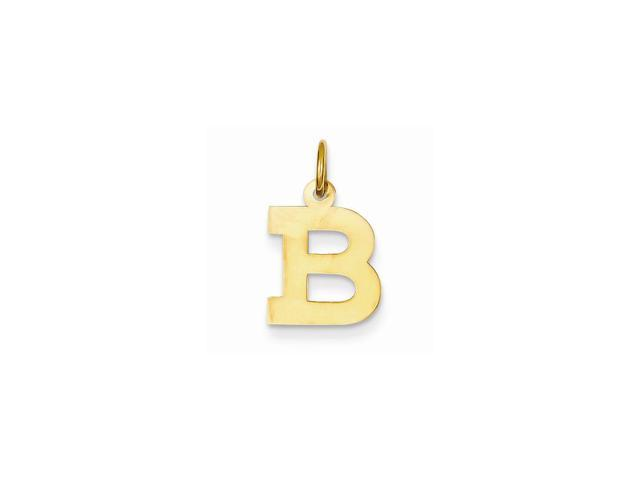 14k Yellow Gold Small Block Intial B Charm Pendant