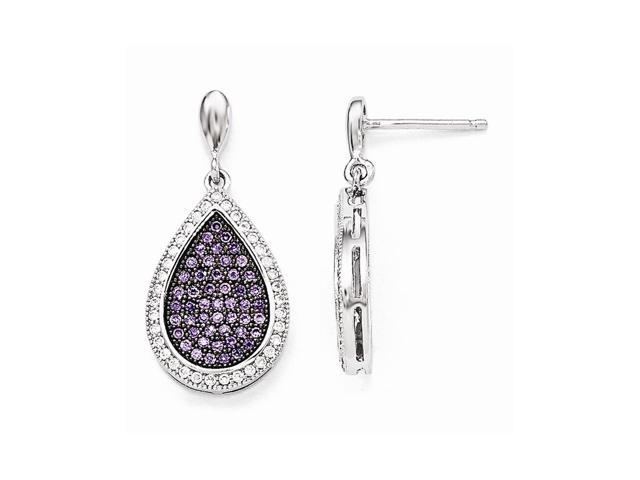 Sterling Silver Rhodium Plated & Synthetic CZ Brilliant Embers Dangle Post Earrings (1IN x 0.5IN )
