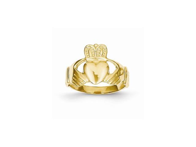 14k Yellow Gold Polished Ladie's Claddagh Ring