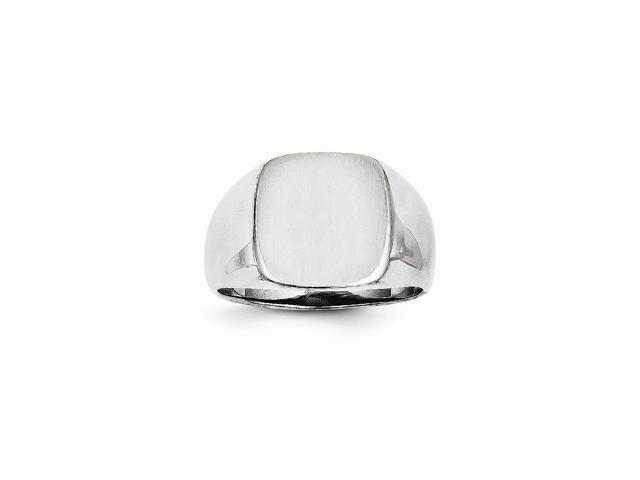14k White Gold Engravable Men's Signet Ring (13mm x 12.1mm face)