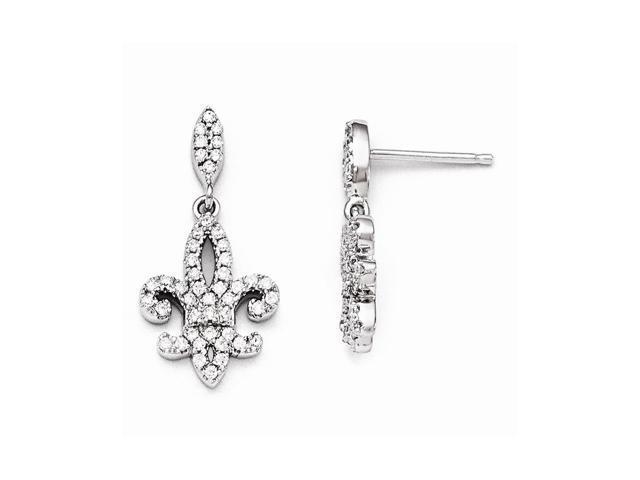 Sterling Silver Rhodium Plated & Synthetic CZ Brilliant Embers Fleur De Lis Dangle Post Earrings (0.9IN x 0.4IN )