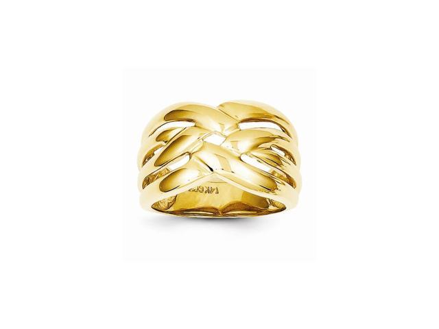 14k Yellow Gold High Polished Woven Dome Ring