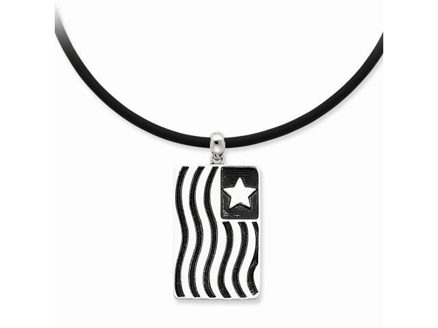 Sterling Silver Rhodium Plated Antiqued Waves Of Pride 22in Rubber Cord w/2in ext. Necklace.