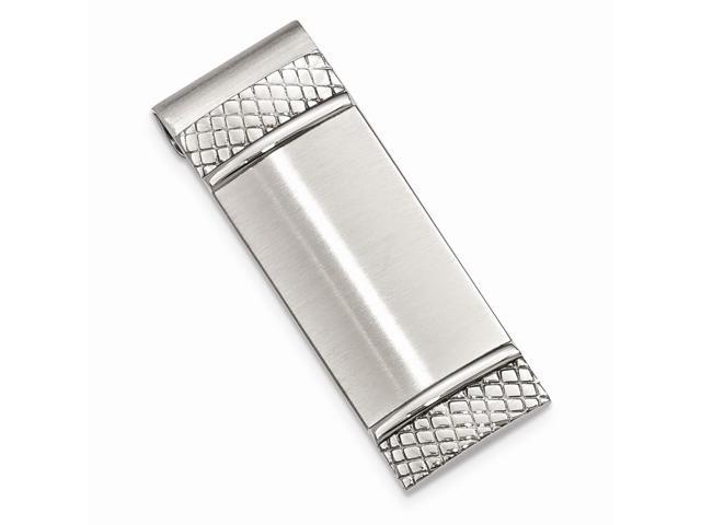 Stainless Steel Brushed and Textured Engravable Money Clip
