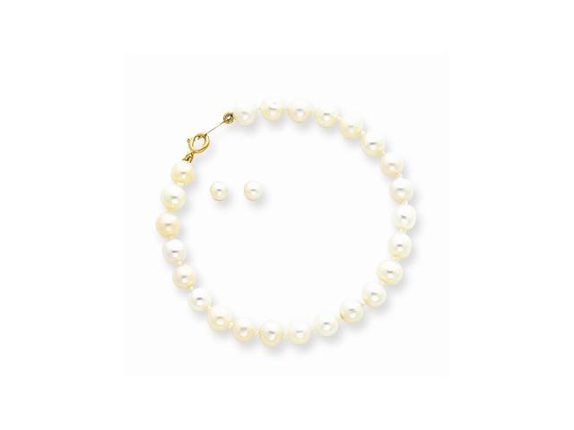 14k Yellow Gold Baby Freshwater Cultured Pearl Set - 5.5