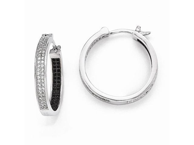 Sterling Silver Rhodium Plated & Synthetic CZ Brilliant Embers 0.9IN Hoop Earrings (0.9IN x 0.9IN )