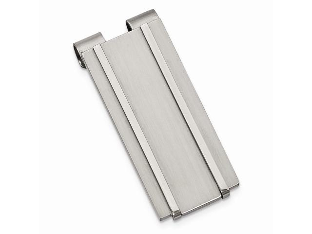 Stainless Steel Brushed and Polished Engravable Money Clip