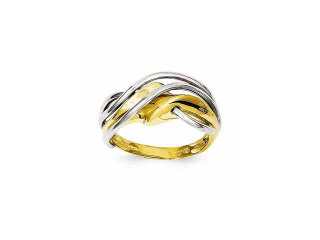 14k Two Tone Gold Wave Ring