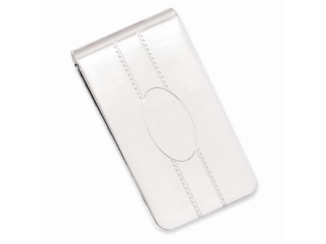 Rhodium Plated Stainless Steel Engraveable Oval Center Money Clip