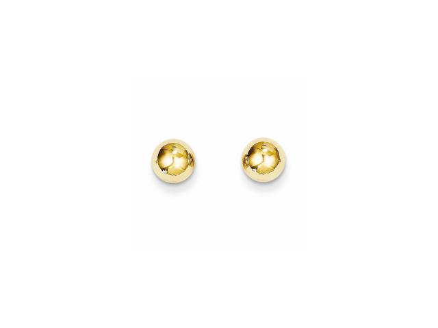 14k Yellow Gold Childs Polished 6mm Ball Post Earrings w/ Gift Box