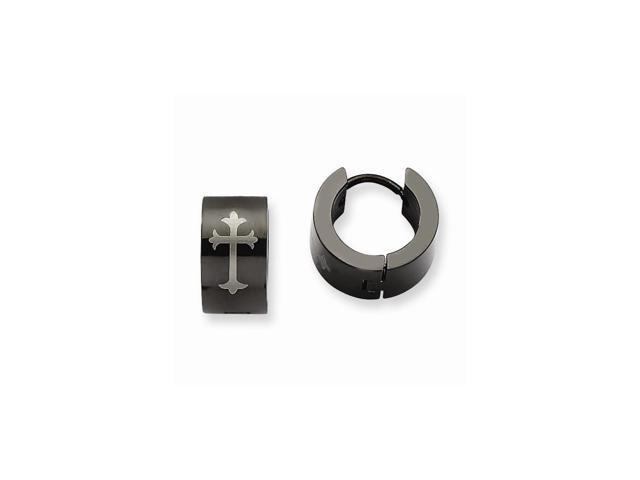 Stainless Steel Black IP Plated Round Hinged 0.3IN Hoop w/ Cross Earrings. (0.3IN x 0.2IN )