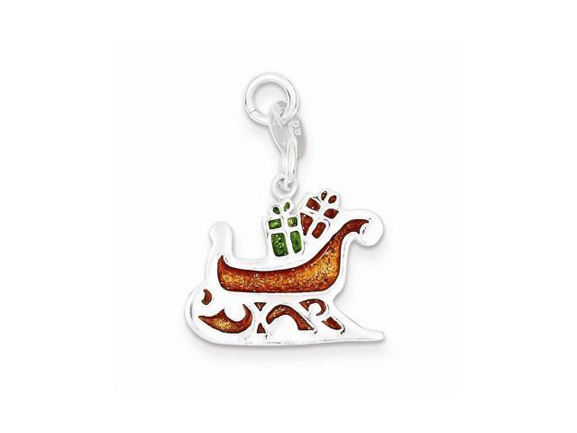 Sterling Silver Enameled Santa's Sled Charm (1.2IN long x 0.8IN wide)