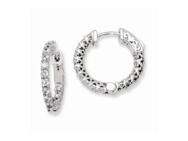 Sterling Silver Rhodium Plated with Synthetic CZ 0.6IN Hinged Hoop Earrings (0.7IN x 0.7IN )