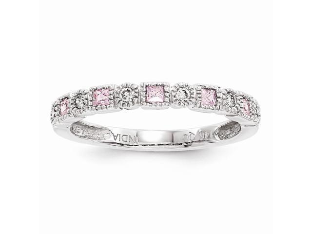 14k White Gold Diamond & Pink Sapphire Ring (Color I-J, Clarity I1-I2)