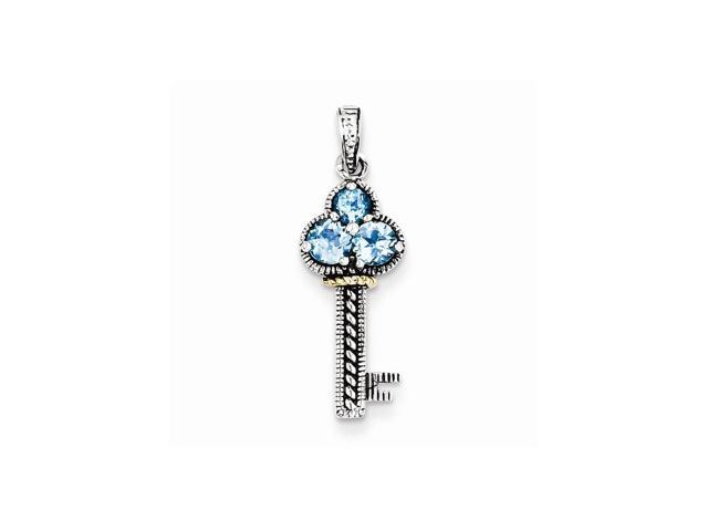Sterling Silver Vintage w/ 14k Gold Plated .31Blue Topaz Antiqued Key Charm. Gem Wt- 0.31ct (1IN long x 0.4IN wide)