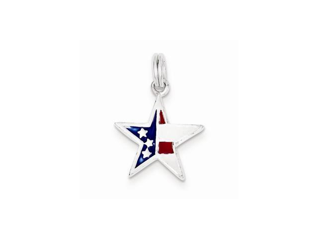 Sterling Silver Enameled Red, White & Blue Star Charm (1IN long x 0.6IN wide)