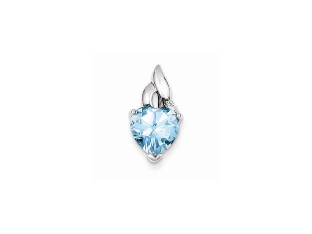 Sterling Silver Rhodium Plated Light Blue Topaz Heart Pendant