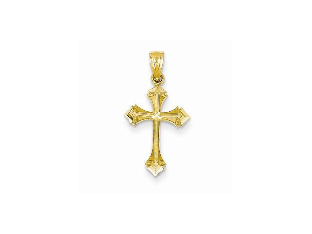 14k Yellow Gold D/C Passion Cross Charm (1IN long x 0.5IN wide)