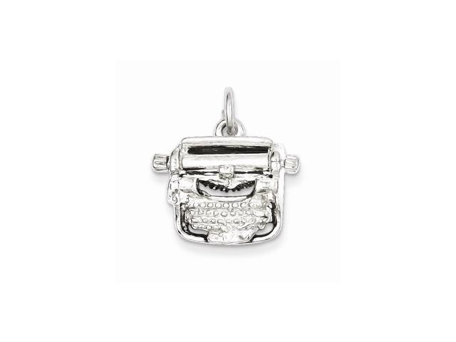 Sterling Silver Typewriter Charm (0.6in)
