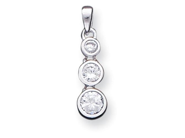 Sterling Silver Polished 3-Stone Synthetic CZ Pendant.