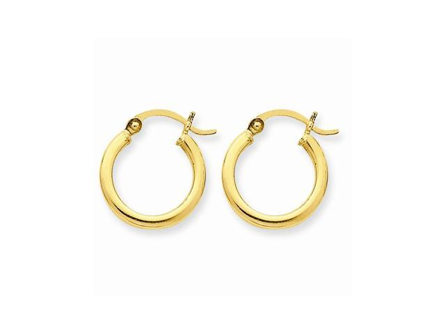 14k Yellow Gold Polished 2mm Round Hoop Earrings (15mm Diameter)