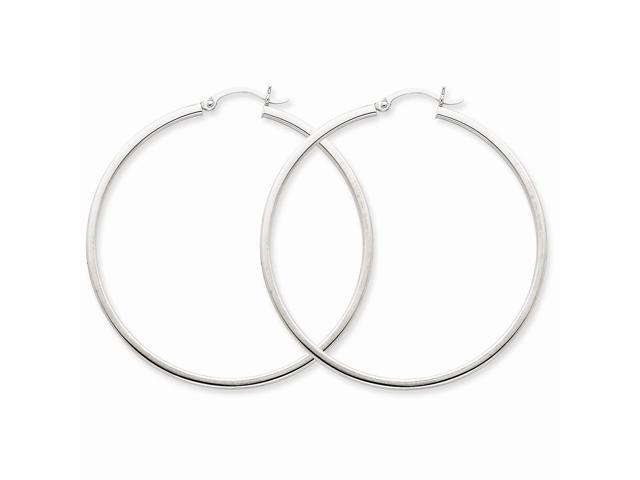 14k White Gold 2mm Square Tube Hoops (50mm Diameter)