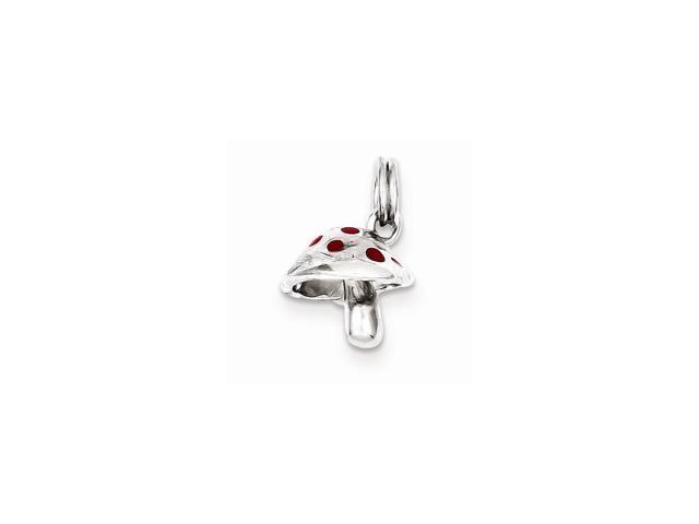 Sterling Silver Red Enamel Mushroom Charm (0.6IN long x 0.4IN wide)