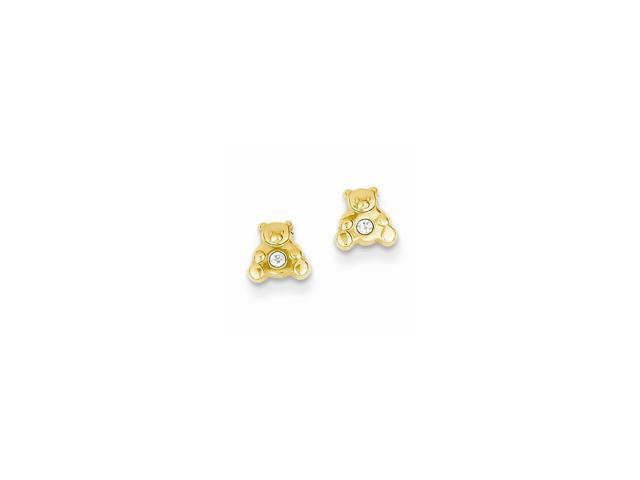 14k Yellow Gold Bear with Synthetic CZ Post Stud Earrings (6MM)