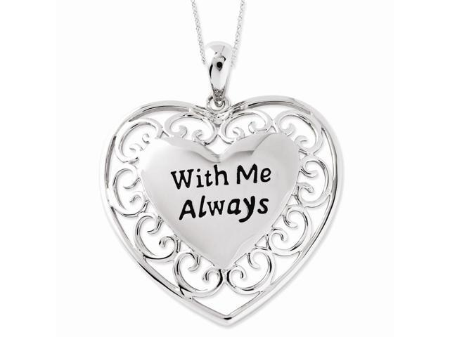 Sterling Silver Rhodium Plated Antiqued With Me Always 18in Heart Necklace