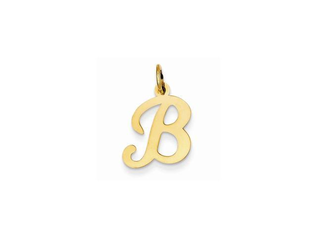 14k Yellow Gold Die Struck Initial B Charm Pendant