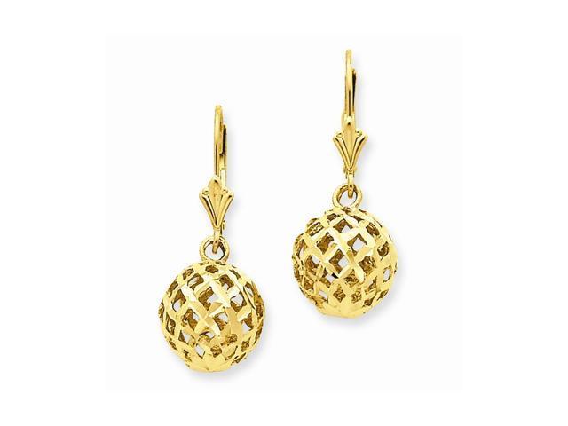 14k Yellow Gold Polished & D/C Mesh Ball Dangle Leverback Earrings (9MM Long x 7MM Wide)