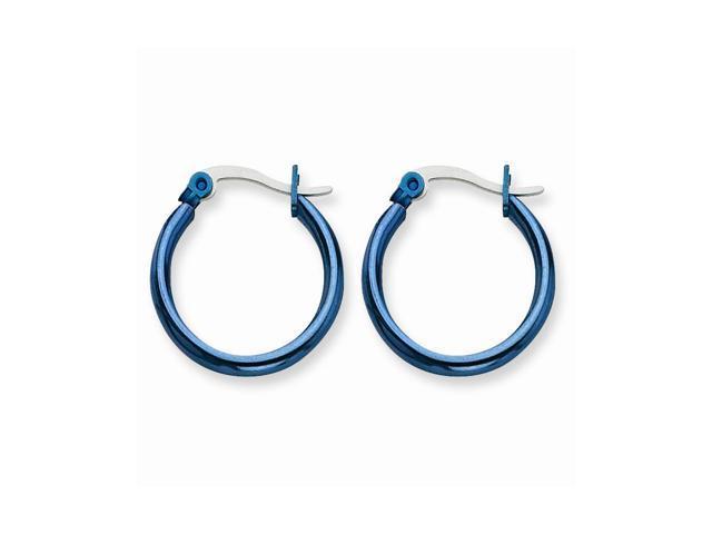Stainless Steel Blue 19mm Hoop Earrings (0.5IN Long)
