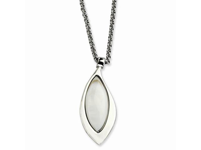 Stainless Steel Polished Teardrop w/ Mother of Pearl 18in Necklace.