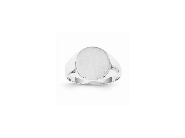 14k White Gold Engravable Signet Ring (11mm x 10.2mm face)