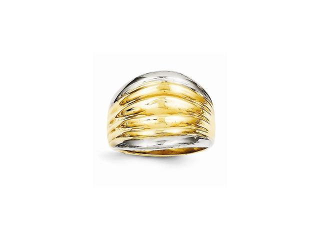 14K Yellow Gold and Rhodium Plated Fancy Dome Ring