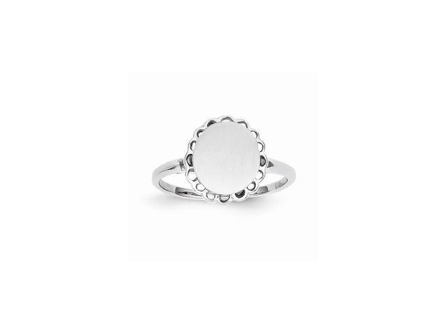 14k White Gold Engravable Signet Ring (9.4mm x 8.5mm face)