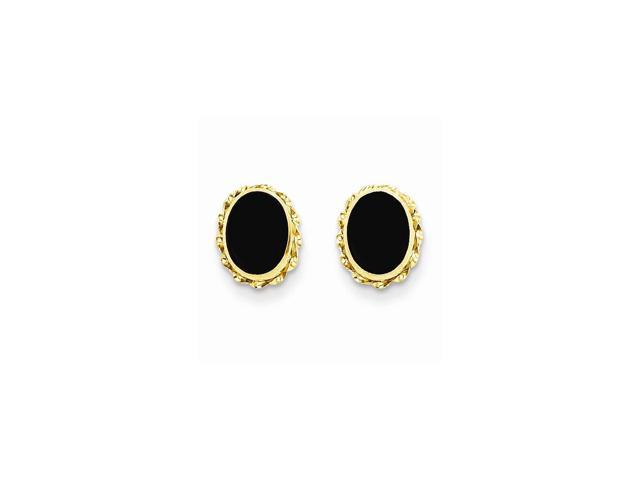 14k Yellow Gold Childs Bezel Onyx Earrings w/ Gift Box (10MM Long x 7MM Wide)