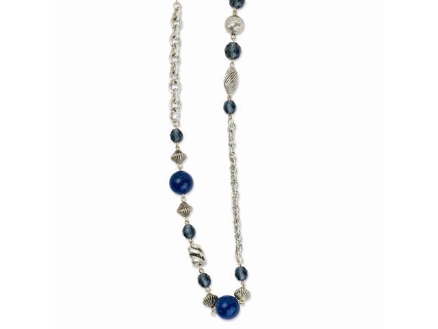 Silvertone Blue Bead & Crystal 44in Necklace