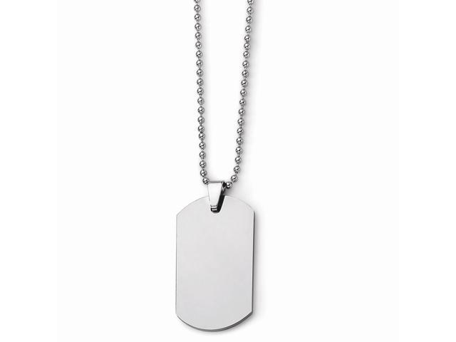 Tungsten Polished Dog Tag Necklace (22in long)