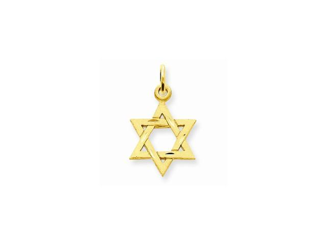 14k Yellow Gold Solid Satin Star of David Charm (0.8IN long x 0.5IN wide)