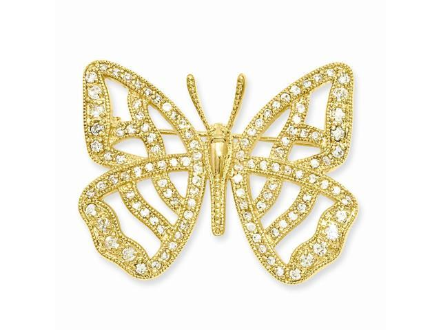 14k Gold Plated Synthetic CZ Butterfly Pin. Lovely Leatherrete Gift Box Included