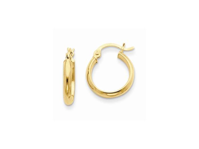 14k Yellow Gold Polished Hoop Earring (15mm Diameter)
