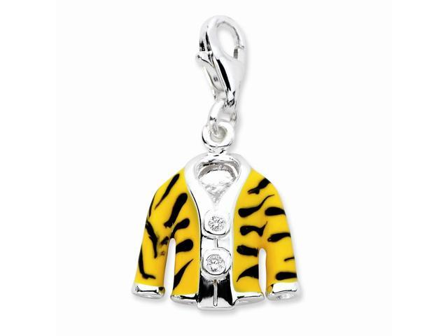 Sterling Silver Rhodium Plated Click-on Synthetic CZ Enamel Tiger Jacket Charm (1IN long x 0.5IN wide)