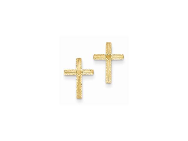 14k Yellow Gold Polished & Satin Heart Cross Post Earrings (0.5IN x 0.3IN )